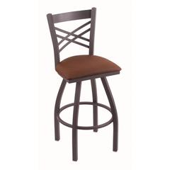 "820 Catalina 36"" Bar Stool with Pewter Finish, Rein Adobe Seat, and 360 swivel"