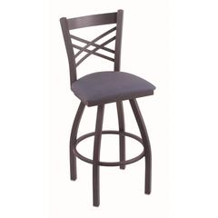 "820 Catalina 36"" Bar Stool with Pewter Finish, Rein Bay Seat, and 360 swivel"