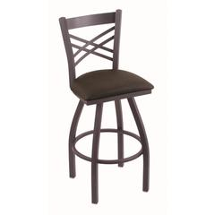 "Holland Bar Stool Co. 820 Catalina 36"" Bar Stool with Pewter Finish, Rein Coffee Seat, and 360 swivel"