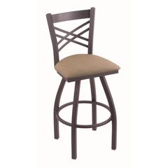 "Holland Bar Stool Co. 820 Catalina 30"" Bar Stool with Pewter Finish, Rein Thatch Seat, and 360 swivel"