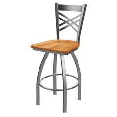 "Holland Bar Stool Co. 820 Catalina 25"" Counter Stool with Stainless Finish, Medium Maple Seat, and 360 swivel"