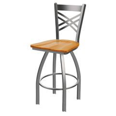 "820 Catalina 30"" Bar Stool with Stainless Finish, Medium Oak Seat, and 360 swivel"