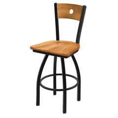 "830 Voltaire 25"" Counter Stool with Black Wrinkle Finish, Medium Maple Seat, Medium Maple Back, and 360 swivel"