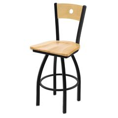 "Holland Bar Stool Co. 830 Voltaire 36"" Bar Stool with Black Wrinkle Finish, Natural Maple Seat, Natural Maple Back, and 360 swivel"