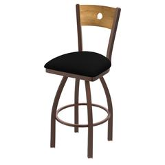"Holland Bar Stool Co. 830 Voltaire 36"" Bar Stool with Bronze Finish, Black Vinyl Seat, Medium Maple Back, and 360 swivel"