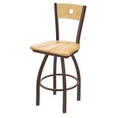 "Holland Bar Stool Co. 830 Voltaire 25"" Counter Stool with Bronze Finish, Natural Maple Seat, Natural Maple Back, and 360 swivel"