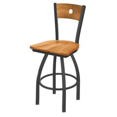 "Holland Bar Stool Co. 830 Voltaire 36"" Bar Stool with Pewter Finish, Medium Maple Seat, Medium Maple Back, and 360 swivel"