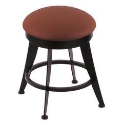 "Holland Bar Stool Co. 900 Laser 18"" Vanity Stool with Black Wrinkle Finish, Rein Adobe Seat, and 360 Swivel"