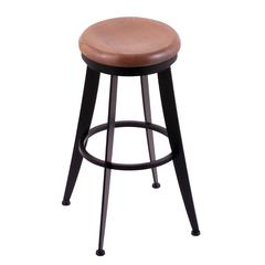"Holland Bar Stool Co. 900 Laser 25"" Counter Stool with Black Wrinkle Finish, Medium Oak Seat, and 360 swivel"