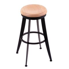 "900 Laser 30"" Bar Stool with Black Wrinkle Finish, Natural Oak Seat, and 360 swivel"