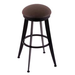 "Holland Bar Stool Co. 900 Laser 30"" Bar Stool with Black Wrinkle Finish, Rein Coffee Seat, and 360 swivel"