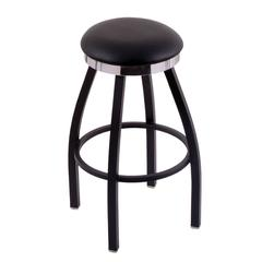 "C8B2C Classic Series 25"" Counter Stool with Black Wrinkle Finish, Black Vinyl Seat, Flat Chrome Accent Ring, and 360 swivel"