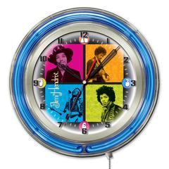 "Jimi Hendrix  19"" Neon Clock with 4 Square Design"