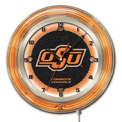 "Oklahoma State 19"" Neon Clock"