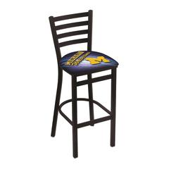 """L004 - 30"""" Black Wrinkle Michigan Stationary Bar Stool with Ladder Style Back by Holland Bar Stool Co."""