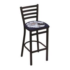 "L004 - 30"" Black Wrinkle Winnipeg Jets Stationary Bar Stool with Ladder Style Back by Holland Bar Stool Co."