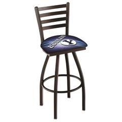 "L014 - 30"" Black Wrinkle Brigham Young Swivel Bar Stool with Ladder Style Back by Holland Bar Stool Co."