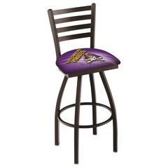 "L014 - 30"" Black Wrinkle East Carolina Swivel Bar Stool with Ladder Style Back by Holland Bar Stool Co."