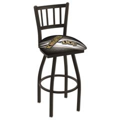 "L018 - 36"" Black Wrinkle Central Florida Swivel Bar Stool with Jailhouse Style Back by Holland Bar Stool Co."