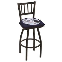"L018 - 36"" Black Wrinkle Columbus Blue Jackets Swivel Bar Stool with Jailhouse Style Back by Holland Bar Stool Co."