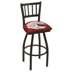 """L018 - 36"""" Black Wrinkle Detroit Red Wings Swivel Bar Stool with Jailhouse Style Back by Holland Bar Stool Co."""