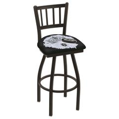 """L018 - 36"""" Black Wrinkle Los Angeles Kings Swivel Bar Stool with Jailhouse Style Back by Holland Bar Stool Co."""