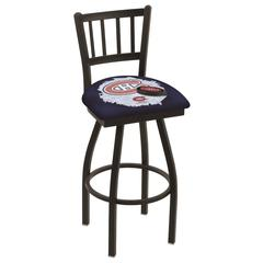 """L018 - 36"""" Black Wrinkle Montreal Canadiens Swivel Bar Stool with Jailhouse Style Back by Holland Bar Stool Co."""