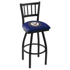 "L018 - 25"" Black Wrinkle U.S. Navy Swivel Bar Stool with Jailhouse Style Back by Holland Bar Stool Co."
