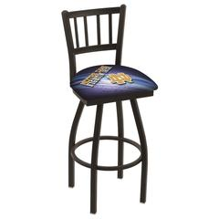 "L018 - 25"" Black Wrinkle Notre Dame (ND) Swivel Bar Stool with Jailhouse Style Back by Holland Bar Stool Co."