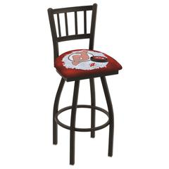 """L018 - 36"""" Black Wrinkle New Jersey Devils Swivel Bar Stool with Jailhouse Style Back by Holland Bar Stool Co."""