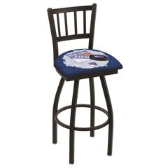 "L018 - 36"" Black Wrinkle New York Rangers Swivel Bar Stool with Jailhouse Style Back by Holland Bar Stool Co."