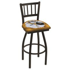 """L018 - 36"""" Black Wrinkle Pittsburgh Penguins Swivel Bar Stool with Jailhouse Style Back by Holland Bar Stool Co."""