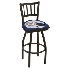 "L018 - 30"" Black Wrinkle St Louis Blues Swivel Bar Stool with Jailhouse Style Back by Holland Bar Stool Co."