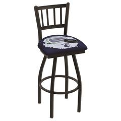 """L018 - 36"""" Black Wrinkle Vancouver Canucks Swivel Bar Stool with Jailhouse Style Back by Holland Bar Stool Co."""