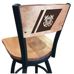 "L038 - 30"" Black Wrinkle U.S. Coast Guard Swivel Bar Stool with Laser Engraved Back by Holland Bar Stool Co."