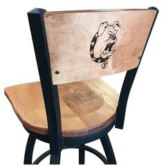 """L038 - 30"""" Black Wrinkle Ferris State Swivel Bar Stool with Laser Engraved Back by Holland Bar Stool Co."""