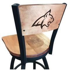 "L038 - 36"" Black Wrinkle Montana State Swivel Bar Stool with Laser Engraved Back by Holland Bar Stool Co."
