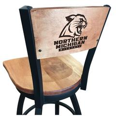 """L038 - 30"""" Black Wrinkle Northern Michigan Swivel Bar Stool with Laser Engraved Back by Holland Bar Stool Co."""