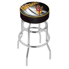 """30"""" L7C1 - 4"""" Arizona State Cushion Seat with Double-Ring Chrome Base Swivel Bar Stool and Pitchfork Logo by Holland Bar Stool Company"""