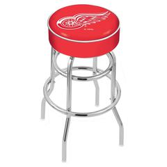 "25"" L7C1 - 4"" Detroit Red Wings Cushion Seat with Double-Ring Chrome Base Swivel Bar Stool by Holland Bar Stool Company"