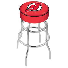 "30"" L7C1 - 4"" New Jersey Devils Cushion Seat with Double-Ring Chrome Base Swivel Bar Stool by Holland Bar Stool Company"