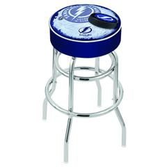 "30"" L7C1 - 4"" Tampa Bay Lightning Cushion Seat with Double-Ring Chrome Base Swivel Bar Stool by Holland Bar Stool Company"