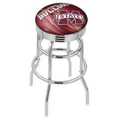 "30"" L7C3C - Chrome Double Ring Mississippi State Swivel Bar Stool with 2.5"" Ribbed Accent Ring by Holland Bar Stool Company"