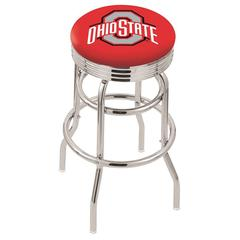"30"" L7C3C - Chrome Double Ring Ohio State Swivel Bar Stool with 2.5"" Ribbed Accent Ring by Holland Bar Stool Company"
