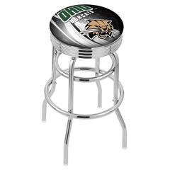"25"" L7C3C - Chrome Double Ring Ohio University Swivel Bar Stool with 2.5"" Ribbed Accent Ring by Holland Bar Stool Company"