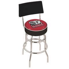 "25"" L7C4 - Chrome Double Ring Alabama Swivel Bar Stool with a Back by Holland Bar Stool Company"