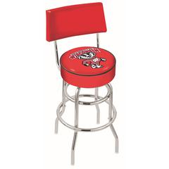 """30"""" L7C4 - Chrome Double Ring Wisconsin """"Badger"""" Swivel Bar Stool with a Back by Holland Bar Stool Company"""