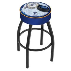 "30"" L8B1 - 4"" St Louis Blues Cushion Seat with Black Wrinkle Base Swivel Bar Stool by Holland Bar Stool Company"