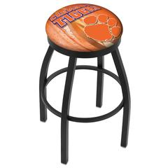 "36"" L8B2B - Black Wrinkle Clemson Swivel Bar Stool with Accent Ring by Holland Bar Stool Company"