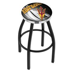 "25"" L8B2C - Black Wrinkle Arizona State Swivel Bar Stool with Chrome Accent Ring and Pitchfork Logo by Holland Bar Stool Company"